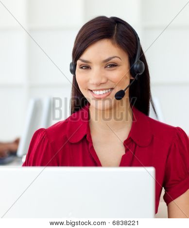 Self-assured Customer Service Representative Using Headset