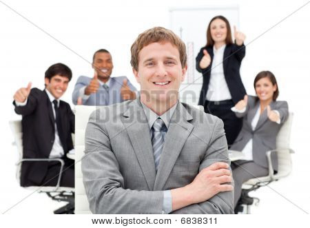 International Business People With Thumbs Up