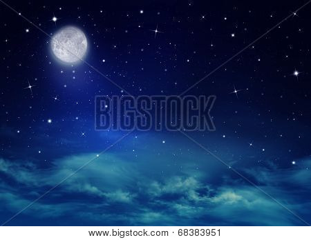 Nightly sky with stars and moon