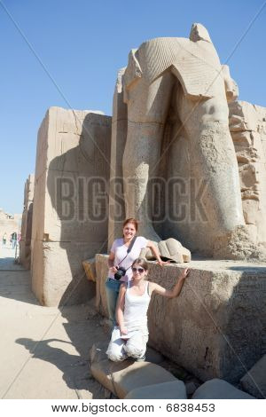 Tourists Against Statues In Karnak Temple