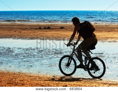 Mountain Biker On The Beach