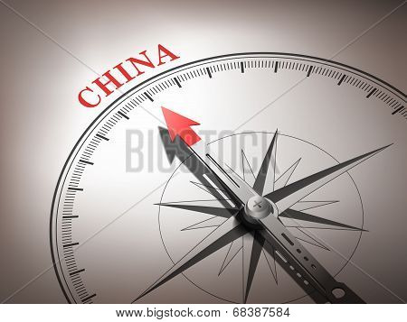 Abstract Compass With Needle Pointing The Destination China