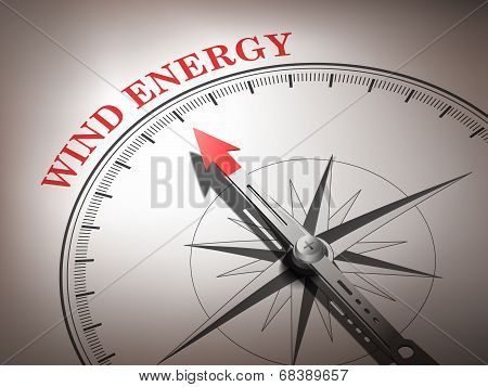 Abstract Compass With Needle Pointing The Word Wind Energy