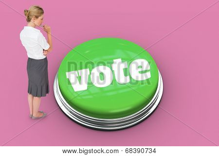 The word vote and thinking businesswoman against pink background
