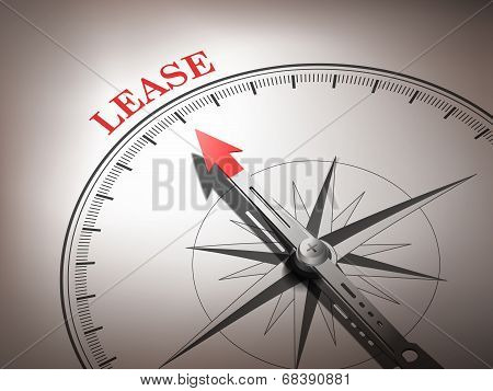 Abstract Compass With Needle Pointing The Word Lease