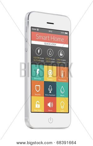 White Modern Mobile Smart Phone With Smart Home Application On The Screen
