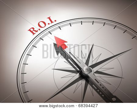 Abstract Compass Needle Pointing The Word R.o.i.