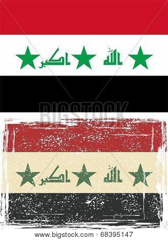 Iraq grunge flag. Vector illustration