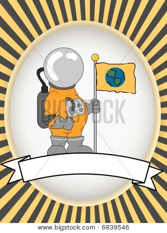 Astronaut blank product label bright oval vector illustration