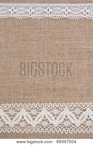 Burlap background with lace