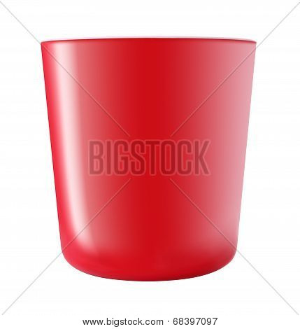 Side of red plastic bucket on white background.