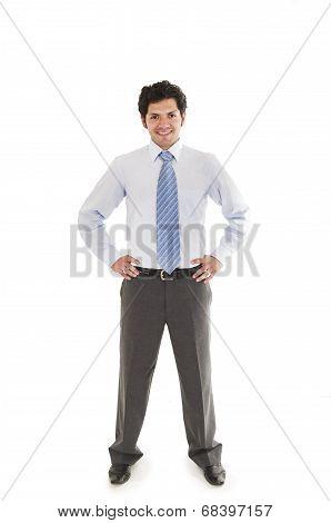 latin man wearing shirt and blue tie posing