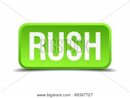 Rush Green 3D Realistic Square Isolated Button