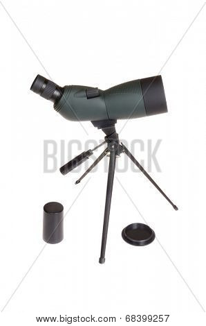 Variable 15-45x power spotting scope isolated on a white background with lens covers