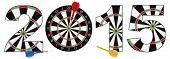 foto of bullseye  - 2015 Happy New Year Dartboard with Darts on Target Bullseye Illustration Isolated on White Background - JPG