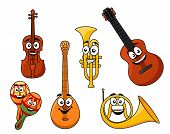 stock photo of banjo  - Set of musical instruments with smiling happy faces including a violin - JPG