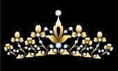 image of tiara  - Vintage golden tiara with jewels on black background - JPG