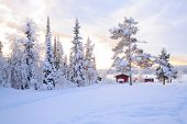 stock photo of laplander  - Winter landscape with house at Kiruna Sweden lapland - JPG