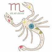 picture of scorpio  - vector illustartion of vintage Scorpio zodiac sign - JPG