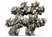 picture of hashtag  - A concept image showing a collection of small metallic hashtags of various sizes arranged to make a larger hashtag on an isolated studio background - JPG