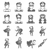 stock photo of superman  - Super hero male and female avatars in superman costumes set isolated vector illustration - JPG