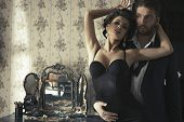 pic of flirt  - Sexy couple in retro bedroom in love - JPG
