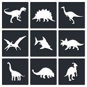 stock photo of dinosaurus  - Dinosaurs icon set on a white background - JPG