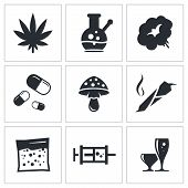 stock photo of crack addiction  - Drugs icon set on a white background - JPG