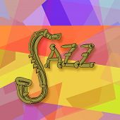 stock photo of jive  - Jazz music abstract colorful decorative background with saxophone - JPG
