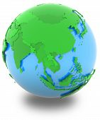 pic of eastern hemisphere  - Asia political map of the world with countries in different shades of green isolated on white background - JPG