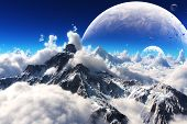 stock photo of snow capped mountains  - Celestial view of snow capped mountains and an alien planet landscape - JPG