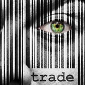 picture of bartering  - Barcode with the word trade as concept superimposed on a man - JPG