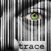 stock photo of superimpose  - Barcode with the word trace as concept superimposed on a man - JPG
