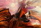 picture of hells angels  - Angels and demons fight apocalyptic scene art - JPG