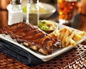 picture of baby back ribs  - barbecue rib meal with cole slaw and french fries - JPG