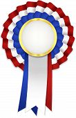 stock photo of rosettes  - Tricolor rosette with blue white and red ribbon and golden frame - JPG