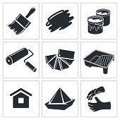 stock photo of spray can  - Painting work icons set on a white background - JPG