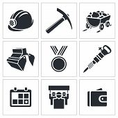picture of ore lead  - Coal industry icons set on a white background - JPG