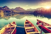 stock photo of sail ship  - Fantastic mountain lake in National Park High Tatra - JPG
