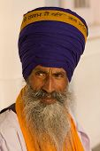 stock photo of turban  - Portrait of Indian sikh man in turban with bushy beard - JPG