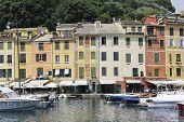 stock photo of genova  - Portofino village near Rapallo Genova Ligurian Coast Italy - JPG