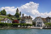 stock photo of zurich  - Rapperswil as seen from Lake Zurich Switzerland - JPG