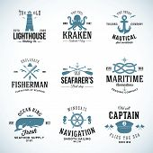 pic of navy anchor  - Set of Vintage Nautical Labels and Signs With Retro Typography Anchors Steering Wheel Knots Seagulls and Wale on Isolated Background - JPG
