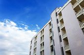 stock photo of modern building  - Architectural details of modern apartment building - JPG