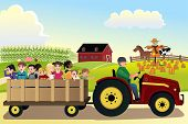 picture of hayride  - A vector illustration of kids going on a hayride in a farm with corn fields in the background - JPG