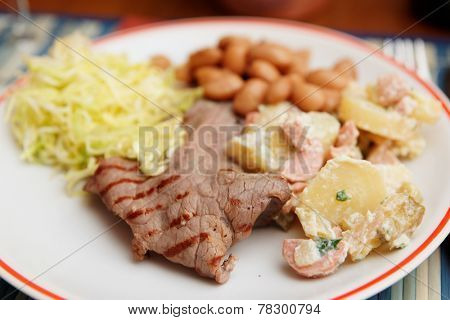 Simple and tasty food of north Italian farmers - beef, cole and kidney beans
