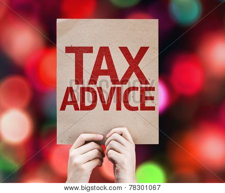 Tax Advice card with colorful background with defocused lights