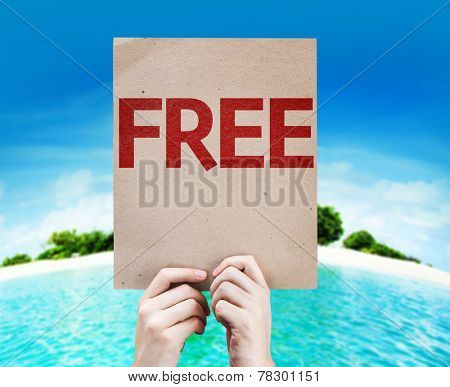Free card with a beach background