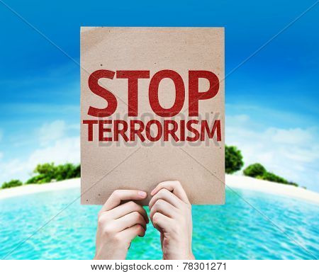 Stop Terrorism card with a beach on background