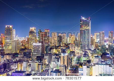 Tokyo, Japan office buildings cityscape.